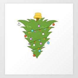 Upside Down Christmas Tree Xmas Art Print