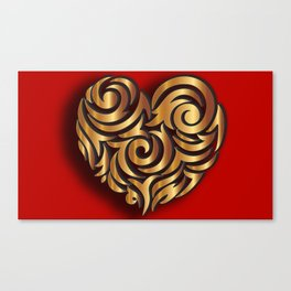 Single Golden Heart Canvas Print