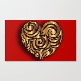 Single Golden Heart Canvas Print