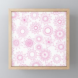 Hand painted pink white mandala floral Framed Mini Art Print