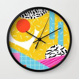 Homefry - abstract pattern memphis retro throwback 80s neon vibes trendy art decor Wall Clock