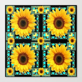 WESTERN STYLE  BLACK COLOR YELLOW SUNFLOWERS ART Canvas Print