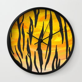 Tiger Black and Orange Print Wall Clock