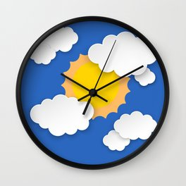 Blue sky with clouds and sun Wall Clock