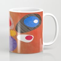 mid century modern Mugs featuring Warm Bold Mid Century Collage 1 by Beatrice Roberts