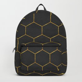 Black and Gold Hexagons Backpack
