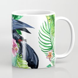 watercolors bird toucan and tropical leaves Coffee Mug