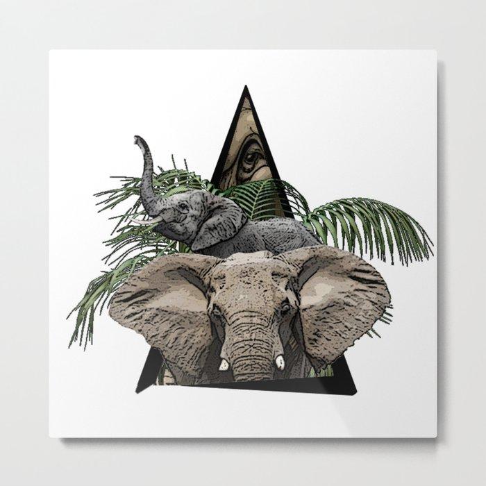 Elephant Jungle ArtWork Metal Print