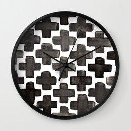Black & White Crosses - Katrina Niswander Wall Clock