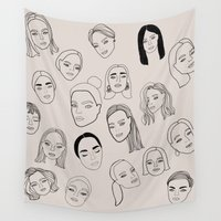 women Wall Tapestries featuring Modern Women by uzualsunday