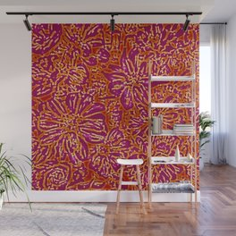 Marigold Lino Cut, Batik Red And Purple Wall Mural