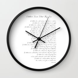 Children Learn What They Live 2  #minimalism Wall Clock