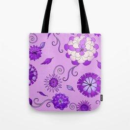 Purple Crazy Daisy pattern Tote Bag