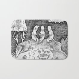 Knitting Cats Bath Mat