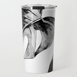 Black monstera leaves watercolor Travel Mug
