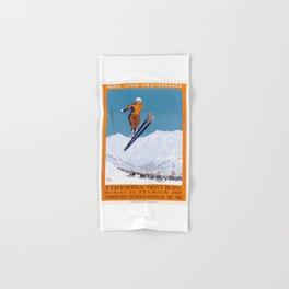 1927 Chamonix - Mont Blanc France Ski Championship Poster Hand & Bath Towel