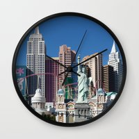 las vegas Wall Clocks featuring Las Vegas by Lynn Bolt