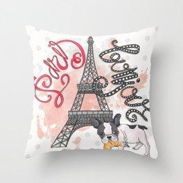 Paris Bonjour Throw Pillow
