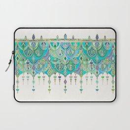 Art Deco Double Drop in Jade and Aquamarine on Cream Laptop Sleeve