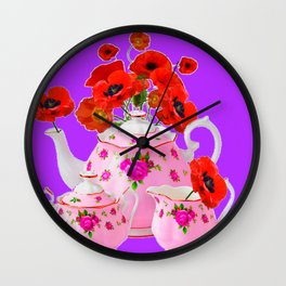 DECORATIVE PORCELAIN & RED  POPPIES FLORA  ART Wall Clock