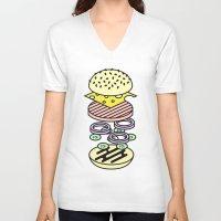 burger V-neck T-shirts featuring Burger by Jan Luzar