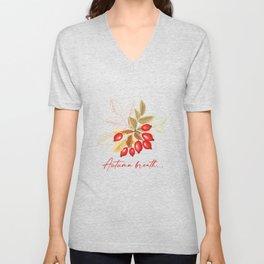 Autumn Breath. Dog Rose Berries And Leaves Unisex V-Neck