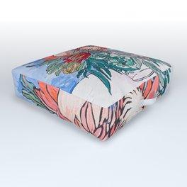 Painterly Vase of Proteas, Wattles, Banksias and Eucayptus on Blue Outdoor Floor Cushion