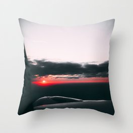 Sunset from airplane, red light Throw Pillow