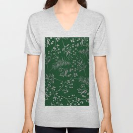 Forest green country chic faux silver floral leaves Unisex V-Neck