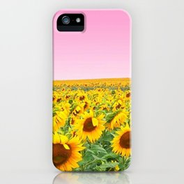 Blushing Sunflower Fields iPhone Case