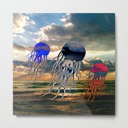 Florida Coast Jellyfish Sunset Metal Print