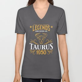 Birthday Gift Born As Taurus 1950 Unisex V-Neck