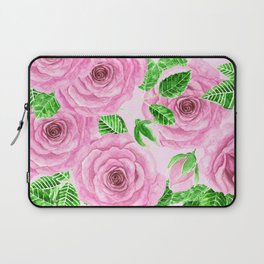 Pink watercolor roses with leaves and buds pattern Laptop Sleeve