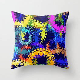 Texture of bright colorful and blue gears and laurel wreaths in kaleidoscope style on a dark blue ba Throw Pillow
