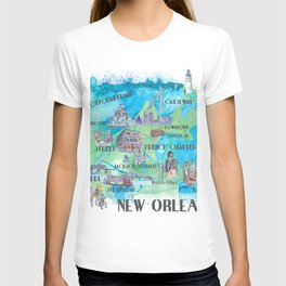 New Orleans Louisiana Favorite Travel Map with Touristic Highlights in colorful retro print T-shirt