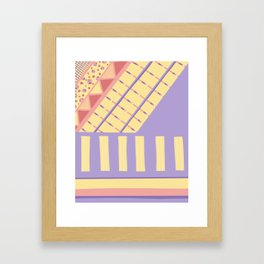 Lilac n Rose Geometry on Buttercream - from the Lilac Buttercup colour palette collection Framed Art Print