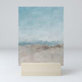 Ocean Horizon Sandy Sunny Beach Day Clear Blue Skies Abstract Nature Painting Art Print Wall Decor  Mini Art Print