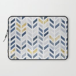 Herringbone chevron pattern. Indigo gold acrylic on canvas Laptop Sleeve