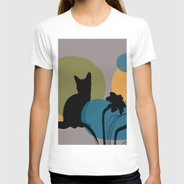 Abstract Daffodils Flower and black cat T-shirt