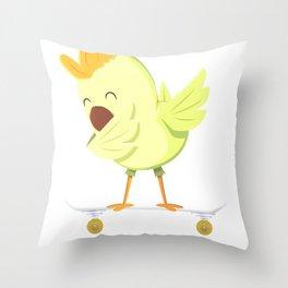 Skateboarding Chick or Chicken on Skateboard Gift for Skater  Throw Pillow