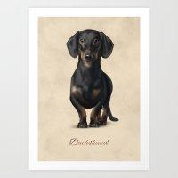 dachshund Art Prints featuring Dachshund by Gosia