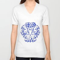 damask V-neck T-shirts featuring Cat Damask by Vannina