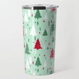 Mint, Red & Green Pine Trees Travel Mug