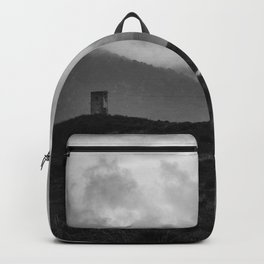 Mountains Path. Spring Foggy. Abandoned Backpack