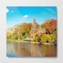 Minnewater lake of love in Bruges, Belgium Metal Print