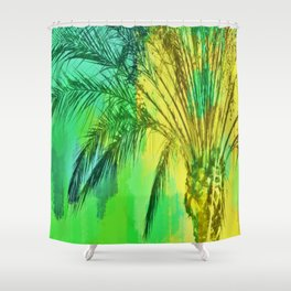 isolate palm tree with painting abstract background in green yellow Shower Curtain
