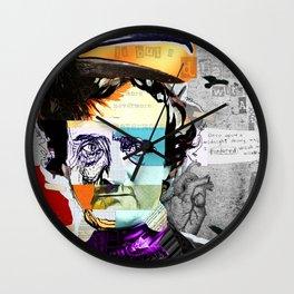 Edgar Allan Poe Collage Portrait by Michel Keck Wall Clock