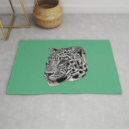Amur leopard cub - green - big cat Rug