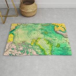 Colorful Map of the North Pole - Vintage Rug