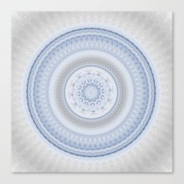Elegant Blue Silver China Inspired Mandala Canvas Print
